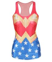 Free Shipping Spring Wonder Woman Super Man Camisole Print Tank Tops W4441