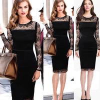 new arrival autumn black color vintage lace full sleeve patchwork cocktail slim dresses CD1357