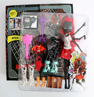 Monster doll anime action figure collecting baby dolls for girl 11'' Black Spider Polyarticular  with 7 pcs accessories