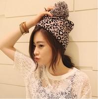 2014 Fashion Newest Autumn winter warm casual women leopard print beanie large ball knitted hat pocket hat skullies & beanies