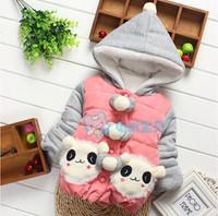 2014 hot-selling children winter outwear ,Clothing Baby Girls Hooded Coat katty decoration Button Style winter jacket WCJ-008