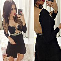 vestidos 2014 new women sexy preto feminino verao Backless Long sleeve roupas femininas de marca