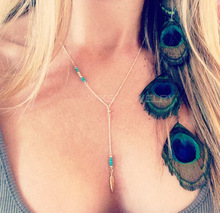 TX256 New Fashion Long Tassel Bar Pendant Leaf Necklace Turquoise Beads Necklaces Jewelry