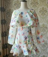 Exclusive design Vintage Floral sweet lotus leaf collar fish swing waist long sleeved dress