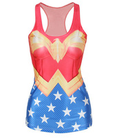 Free Shipping Spring Women Wonder Woman Super Man Camisole W4441