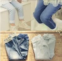 5pcs/lot Fashion Autumn Lace Hem Baby Girls Jeans Children Trousers, bg279