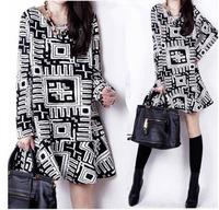 2014 Fall Winter Fashion Black White Geometric Brief Plus Size Women Long Sleeve Loose Casual Trumpet Dress Clothing M-2XL
