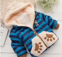 2014  Cartoon Bear Stripe Cotton Plush Long sleeve Zipper coat