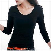 Autumn color slim render unlined upper garment Round neck long sleeve T-shirt