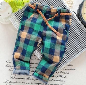 Новый 2015 осень дети брюки детская зимние брюки для мальчиков дети брюки 3-7 лет брюки для мальчиков плед дети джинсы
