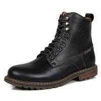 2014 Fashion black men martin boots genuine leather ankle boots men's botas Autumn and Winter shoes 3123