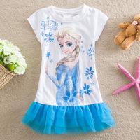 2014 Baby Kid's Casual Dresses Autumn Frozen Girl's Princess Dress New Frozen Short Sleeve Dress for Girls Mesh Dress