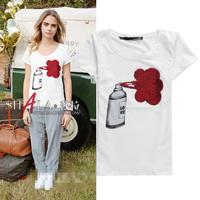 2014 new arrival short sleeve print cotton t shirt women 2colors S,M,L,XL