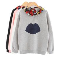 2014 Autumn And Winter Girls Korea Street Fashion Lip Pattern Flower Turn-down Collar Long Sleeve Fleece Sweatshirts Y-1203