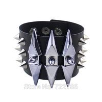 Pulseiras Femininas PU Leather Steampunk Rivet Decoration Alloy Adjustable Bracelet for Women
