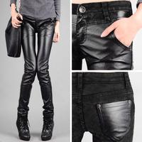 women leather pants denim splice fashion winter jeans Trousers High quality Leisure PU Stretch Pencil pants
