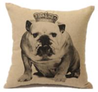 New Vintage Bulldog With Crown Fashion Art Classic Decorative Car Sofa Home Pillow Case Cushion Cover Throw Sham
