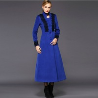 2014 New women's winter thick coat vintage stand collar lace patchwork long cashmere trench coat single-breasted overcoat