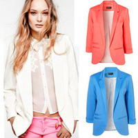 Casual womens business suits Autumn Seven Sleeve Big Size Multi Color Jacket Coat  white pink black blue 4 colors
