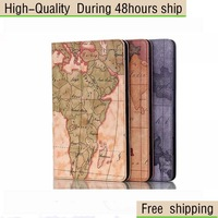 Retro Map Texture Flip Stand Leather Cover Case For Samsung Galaxy Tab S 8.4 T700 Free Shipping