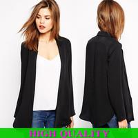 New 2014 Fashion Women Coat Side Slit Blazer Jackets Women Open Stitch Black Jacket Women woman Clothes Plus Size Free Shipping