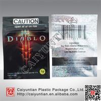 Hot sale Caution diablo herbal incense bag, 4g 10g caution diablo herbal ziplock bag