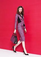 High quality 2014 autumn fashion formal women houndstooth print blazer skirt suits