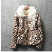 women's winter fashion leopard print fur collar jacket coat outwear for girl,1pcs retail