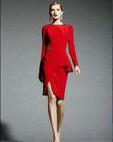 2014 autumn fashion women work wear long-sleeve ruffle slim dress red