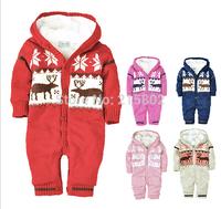 Free shipping! Winter 2014 new cotton Christmas newborn clothing, warm velvet baby climb clothes, fashion jumpsuit boys/girls
