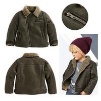 2014 New Autumn Winter Boys Coat Zipper Cool Leather Wool Boys Jacket Outerwear Kids Winter Coat 5 pcs / lot 1311