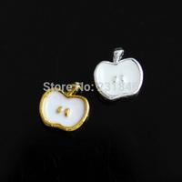 30pcs 7x6mm Cute Apple Fruit Alloy DIY Decoration 3D Nail UV Gel Nail Art Tips Phone Decoration DIY Accessories Manicure Salon