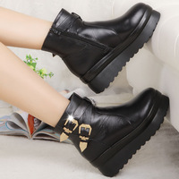 The new European and American high-heeled leather winter slope with thick crust muffin Martin boots women boots female boots a g