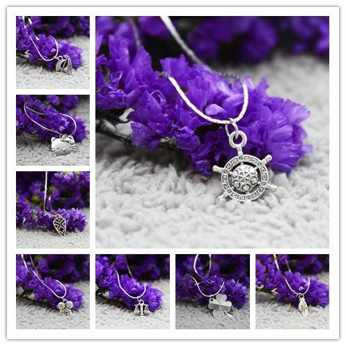 8 Style High Quality Tibetan Silver Pendant Necklace Choker Charm Silver Chains Cord Handmade Jewlery