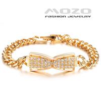 Wholesale new fashion jewelry shiny zircon plated18k yellow gold bowknot bracelets & bangles for women wedding jewelry TY430