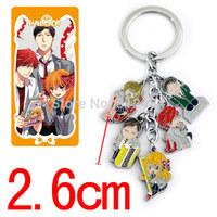 100sets/lot Cartoon Gekkan Shoujo Nozaki-kun Keychains Metal Figure Key Ring Keychain Pendants