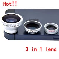 universal 3 in 1 mobile phone lente 0.67x Wide + Macro +180 Fish Eye fisheye lens for iPhone 5 5s 6 Samsung,1set free shipping
