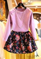 Free shipping 2014 autumn new women clothing set,skirt suit,women zipper o-neck sweater and mini rose skirt