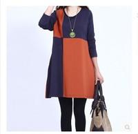 2014 new fashion winter dress Korean stitching casual loose plus size dress female Slim o-neck long-sleeved vestido