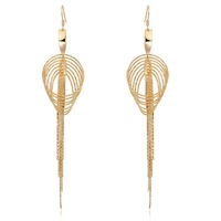 Christmas Gift 18K Yellow Gold Plated Multi Layer Circle Filigree Tassel Hook Drop Dangle Earrings Fashion Jewelry For Women