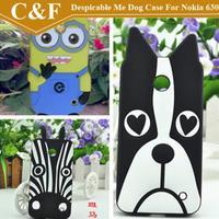 New Cute Cartoon Zebra Dog Despicable Me Soft Silicone Rubber Back Case For Nokia Lumia 630 635 636 638+Free shipping