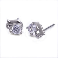 Wholesale Jewellery Ear Stud 5pairs mix Lots Silver P CZ Crystal Earrings