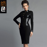 Free Shipping Epaulette Leather Patchwork Dress Slim Elegant Long-sleeve Autumn And Winte Patchwork Step Thickening Hip Elastic