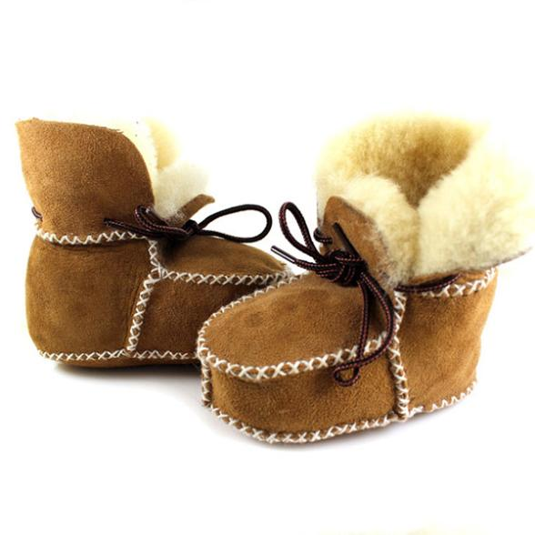 New Hot Surfer Baby Sheepskin Shearling Booties Suedel Wool Boots Infant Toddler Shoes free shipping