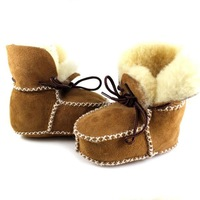 New Hot Surfer Baby Sheepskin Shearling Booties Suedel Wool Boots Infant/Toddler Shoes free shipping
