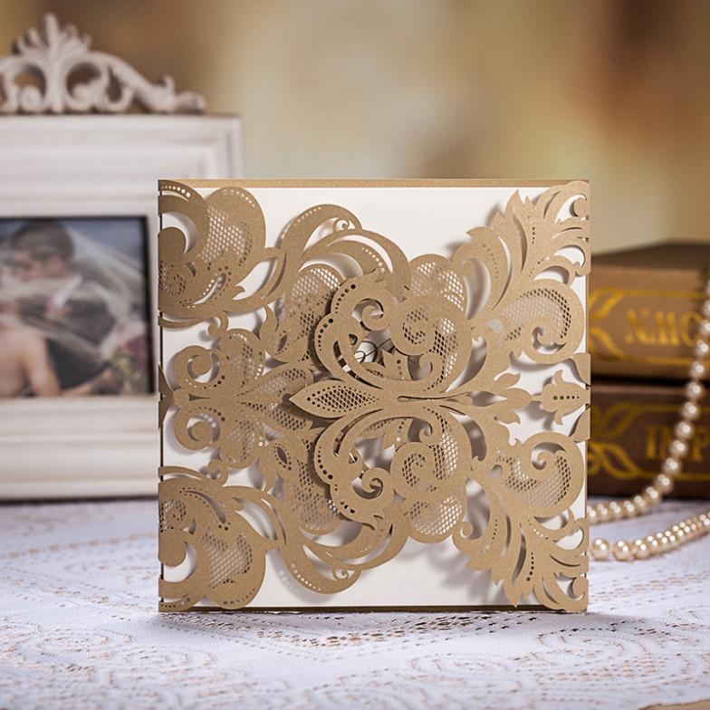 frete grátis atacado cartão de convite flor elegante laser convite de casamento corte 10 pcs/lote(China (Mainland))