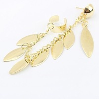 Drop shipping 2014 New Sale famous brand tassel leaf earrings,fashion ear cuff earrings for women,silver/gold plated earrings