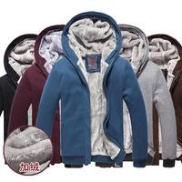 2014 new winter men's fleece cardigan sweater plus thick velvet hooded jacket men's warm fleece