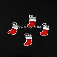 30pcs/lot 5x9mm Cute Red XMAS Socks 3D Alloy Rhinestone Glitters Nail Art Tips Cellphone Craft Beauty DIY Decoration Manicure