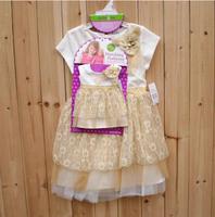 Free shipping children girls princess gold tutu dress summer dress with the doll dress 2 piece set
